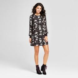 Women's Floral Athletic Arm Stripe Dress - Lily Star (Juniors') Black