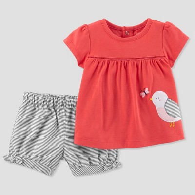 Baby Girls' 2pc Stripe Bird Shorts Set - Just One You® made by carter's Coral NB
