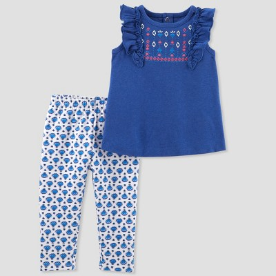 Baby Girls' 2pc Leggings/Top Set - Just One You® made by carter's Blue 12M
