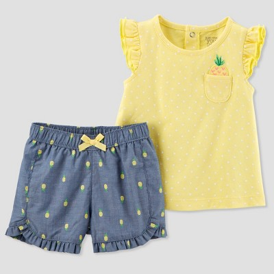 Baby Girls' 2pc Pineapples Shorts Set - Just One You® made by carter's Yellow 3M