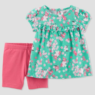 Baby Girls' 2pc Floral Shorts Set - Just One You® made by carter's Green/Pink 18M