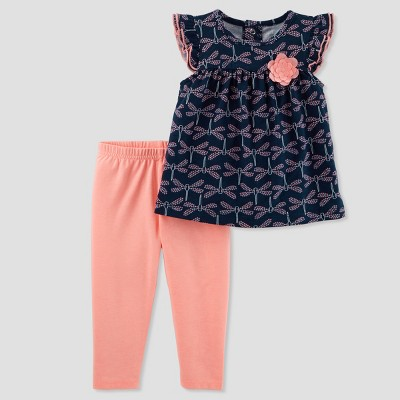 Baby Girls' 2pc Dragonflies Leggings Set - Just One You® made by carter's Navy/Orange 18M