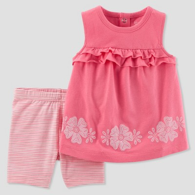 Baby Girls' 2pc Floral/Stripe Shorts Set - Just One You® made by carter's Pink 18M