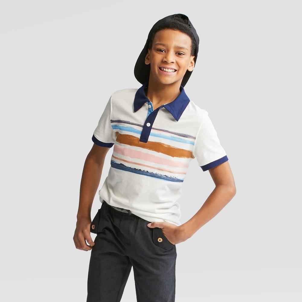 239606e08 Boy Short Sleeve Slub Jersey Polo Shirt Cat Jack White S