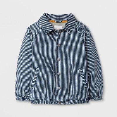 Toddler Boys' Long Sleeve Coach Jacket - Cat & Jack™ Blue Stripes - 5T