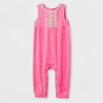 Baby Girls' Romper - Cat & Jack™ Daring Pink 0-3M