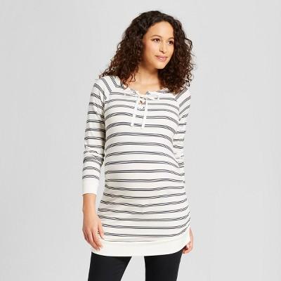 Maternity 3/4 Sleeve Lace-Up Sweatshirt - Isabel Maternity by Ingrid & Isabel™ White/Navy Stripe S