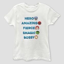 Girls' Marvel Avengers Graphic Short Sleeve T-Shirt - White