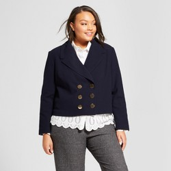 Women's Plus Size Cropped Blazer - A New Day™ Federal Blue