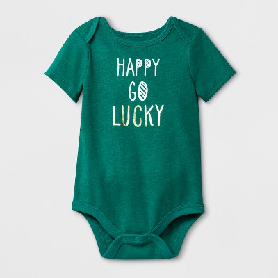 Baby Girls'  Happy Go Lucky  Short Sleeve Bodysuit - Cat & Jack™ Mint Green 12M