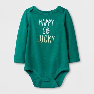 Baby Girls'  Happy Go Lucky  Long Sleeve Bodysuit - Cat & Jack™ Mint Green 3-6M