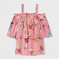 Girls' Off the Shoulder Shirt - art class™ Striped Floral