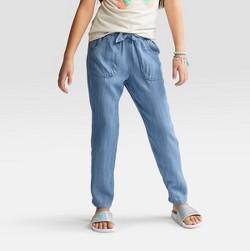 Girls' Chambray Soft Fashion Pants - Cat & Jack™ Medium Denim Wash