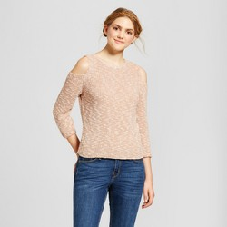 Women's Balloon Sleeve Cold Shoulder Pullover Sweater - Alley & Gabby (Juniors')