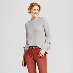 Women's Mock Neck Tie Bell Sleeve Side Slit Sweater - Alley & Gabby (Juniors')