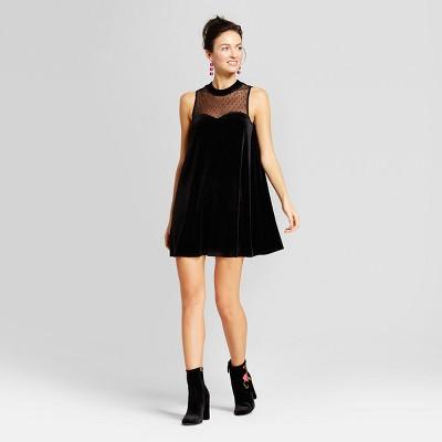 womenu0027s velvet illusion mesh trapeze dress 3hearts black