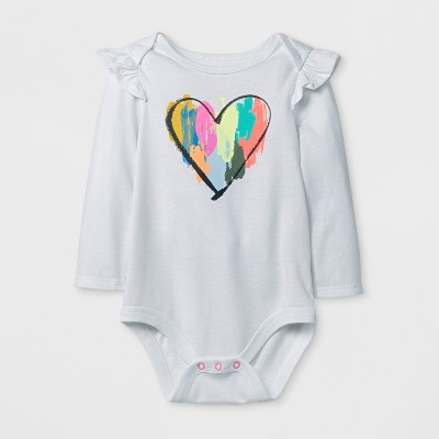 Baby Girls' Long Sleeve Heart Bodysuit - Cat & Jack™ White 3-6M