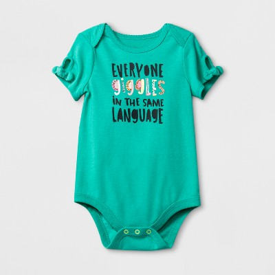 Baby Girls' Everyone Giggles Bodysuit - Cat & Jack™ Green 12M