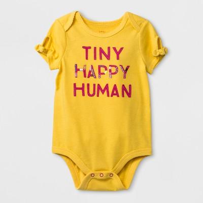 Baby Girls'  Tiny Happy Human  Bodysuit - Cat & Jack™ Yellow 12M