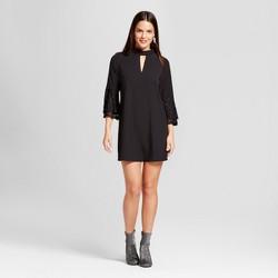 Women's Lace Bell Sleeve Choker Neck Dress - Le Kate (Juniors') Black