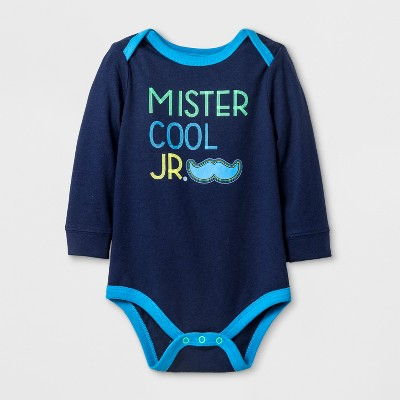 Baby Boys' 'Mr. Cool Jr' Long Sleeve Bodysuit - Cat & Jack™ Navy 0-3M