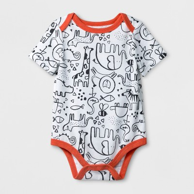 Baby Boys' Animal Print Short Sleeve Bodysuit - Cat & Jack™ White 6-9M