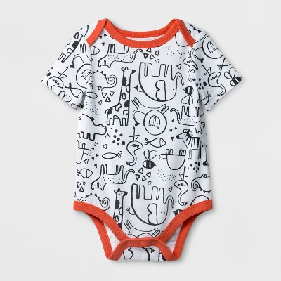 Baby Boys' Animal Print Short Sleeve Bodysuit - Cat & Jack™ White Newborn