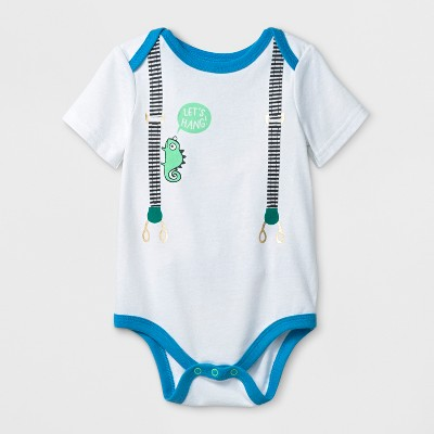 Baby Boys' Suspenders Print Short Sleeve Bodysuit - Cat & Jack™ White 0-3M