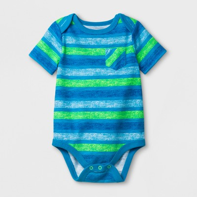 Baby Boys' Short Sleeve Stripe Bodysuit with Pocket - Cat & Jack™ Blue 3-6M