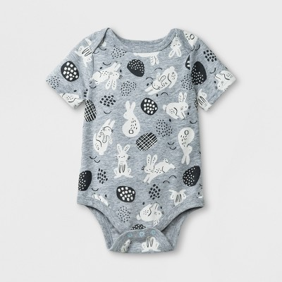 Baby Boys' Short Sleeve Bunny Print Bodysuit - Cat & Jack™ Gray 0-3M