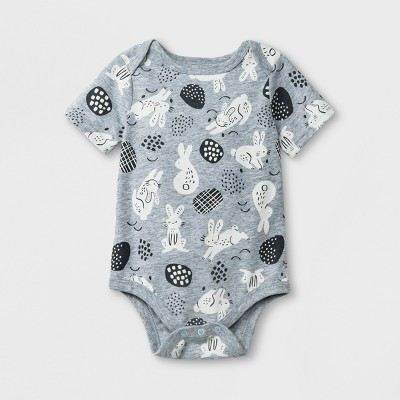 Baby Boys' Short Sleeve Bunny Print Bodysuit - Cat & Jack™ Gray 6-9M