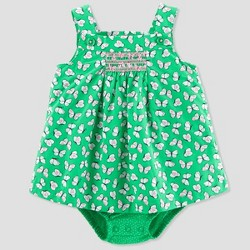 Baby Girls' 1pc Butterfly Sunsuit - Just One You™ Made by Carter's® Green/Pink
