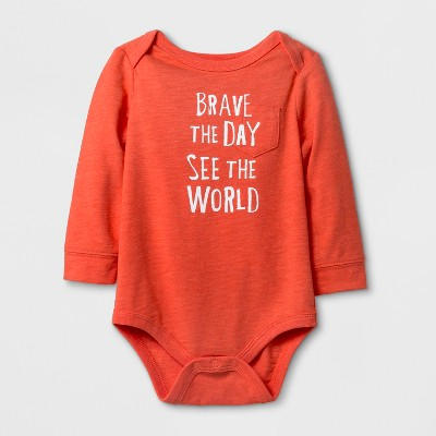 Baby Boys' 'BRAVE THE DAY' Long Sleeve Bodysuit - Cat & Jack™ Red NB