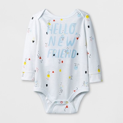 Baby Boys' 'HELLO NEW FRIEND' Long Sleeve Bodysuit - Cat & Jack™ White 6-9M
