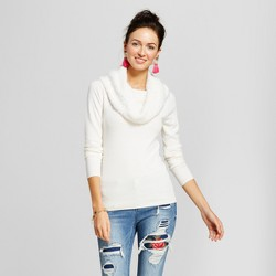 Women's Eyelash Popcorn Fold Over Sweater - XOXO (Juniors') White