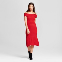 Women's Off the Shoulder Textured Sweater Dress - XOXO (Juniors') Red