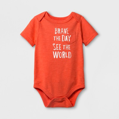 Baby Boys' 'Brave The Day' Short Sleeve Bodysuit - Cat & Jack™ Red NB