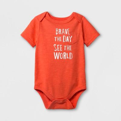 Baby Boys' 'Brave The Day' Short Sleeve Bodysuit - Cat & Jack™ Red 0-3M