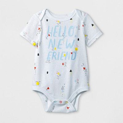 Baby Boys' 'Hello New Friend' Short Sleeve Bodysuit - Cat & Jack™ White 0-3M