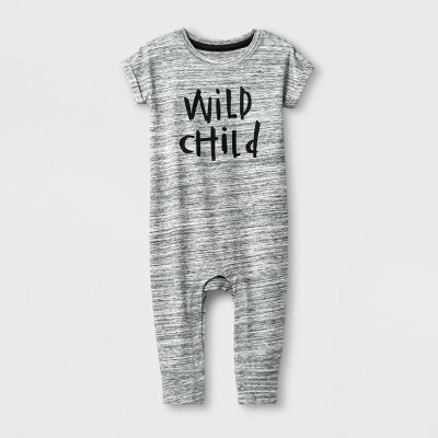 Baby Boys' 'Wild Child' Short Sleeve Romper - Cat & Jack™ Gray 3-6M