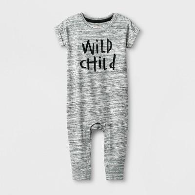 Baby Boys' 'Wild Child' Short Sleeve Romper - Cat & Jack™ Gray 18M