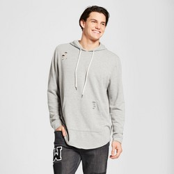 Men's Destructed Curved Hem Hoodie Sweatshirt - Jackson™ Heather Gray