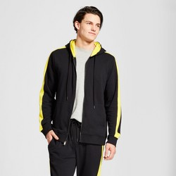 Men's Zip Front Track Hoodie Sweatshirt - Jackson™ Black & Yellow