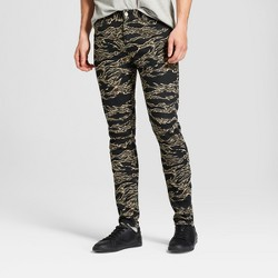 Men's Camo Print Skinny Fit Tiger Tapered Pants with Stretch Denim - Jackson™