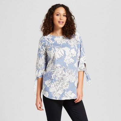 Maternity Tie Sleeve Floral Stripe Top - Isabel Maternity by Ingrid & Isabel™ White/Blue S