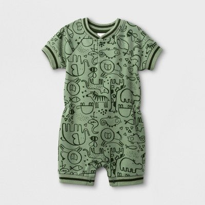 Baby Boys' Animal Print French Terry Short Sleeve Romper - Cat & Jack™ Green 6-9M