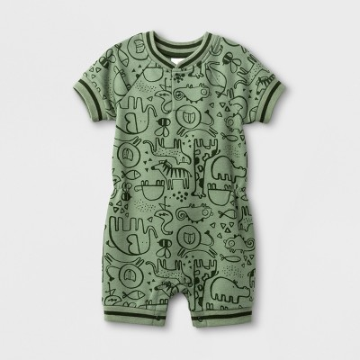 Baby Boys' Animal Print French Terry Short Sleeve Romper - Cat & Jack™ Green NB