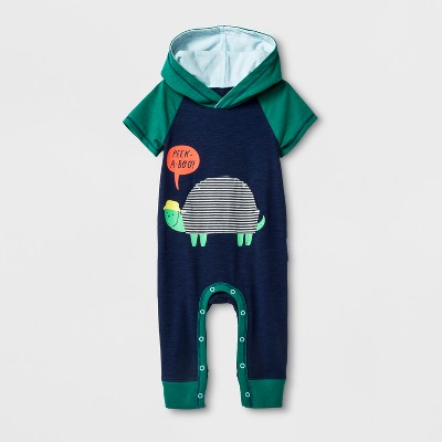 Baby Boys' Turtle Pocket Hooded Short Sleeve Romper with Turtle Pocket - Cat & Jack™ Navy 0-3M
