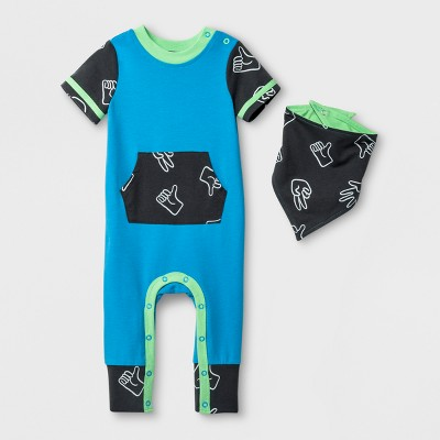 Baby Boys' 2pc Kangaroo Pocket Short Sleeve Romper and Bib Set - Cat & Jack™ Blue 0-3M
