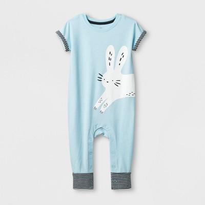 Baby Boys' Bunny Short Sleeve Romper - Cat & Jack™ Blue 12M